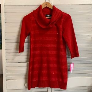 Amy Byer XL Girls Sweater Dress NWT Red Sequence